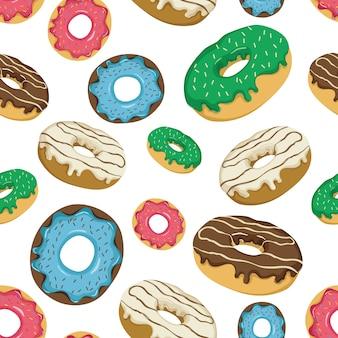 Nahtloses muster von donuts mit köstlichem topping und besprüht