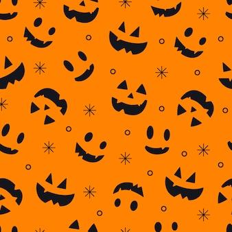 Nahtloses muster von emotionen von kürbissen. nahtloses halloween-muster