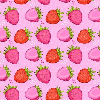 Nahtloses muster von erdbeeren