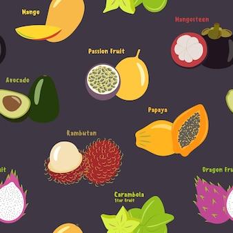 Nahtloses muster von exotischen tropischen früchten auf einem violetten hintergrund, flaches design, zum drucken auf stoff oder papier. vektorillustration.