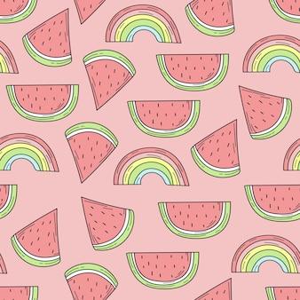 Nahtloses muster von farbigen handgezeichneten wassermelonen und regenbogen für design