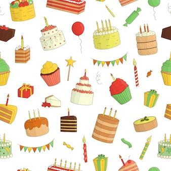 Nahtloses muster von farbigen kuchen mit kerzen. geburtstag wiederholen hintergrund. bunte wiederholungsbeschaffenheit von süßen backwaren. helle zeichnung von geburtstagskuchen, süßigkeiten, ballonen, geschenken, konfettis