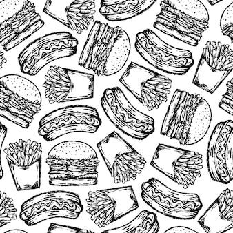 Nahtloses muster von fast food im zeichenstil.