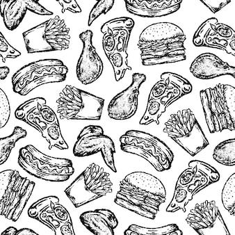 Nahtloses muster von fast food im zeichenstil