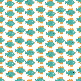 Nahtloses muster von fischen im kindlichen cartoon-stil auf weißem hintergrund