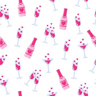 Nahtloses muster von flaschen champagner und gläsern