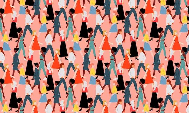 Nahtloses muster von frauen, die gehen. überfüllte menschen unterschiedlicher farbe zusammen. flacher internationaler frauentag