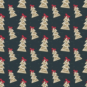 Nahtloses muster von fröhlichen weihnachtslebkuchen mit weißem zuckerguss in form eines baumes mit roter schleife