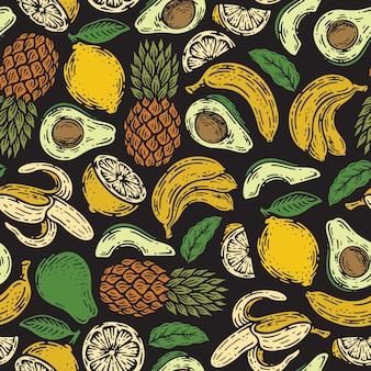 Nahtloses muster von früchten im doodle-weinlese