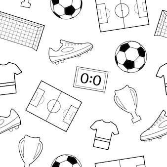 Nahtloses muster von fußballsymbolen, schwarz auf weiß