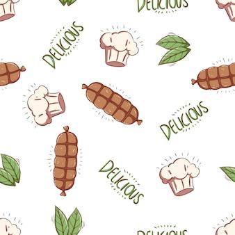 Nahtloses muster von gekritzelfleisch oder wurst mit kochmütze