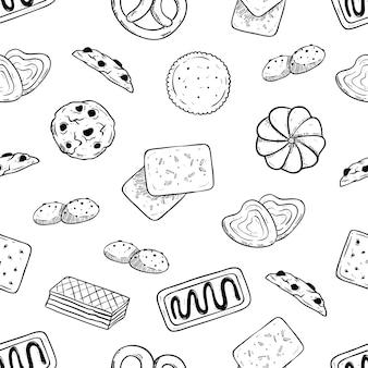 Nahtloses muster von geschmackvollen keksen mit der hand gezeichnet oder skizzenart