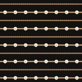 Nahtloses muster von goldkettenlinien auf schwarzem