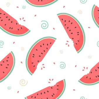 Nahtloses muster von großen reifen wassermelonenscheiben