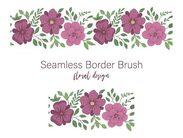 Nahtloses muster von grünen blättern mit lila blüten. blumenrandverzierung. trendy flache illustration Premium Vektoren