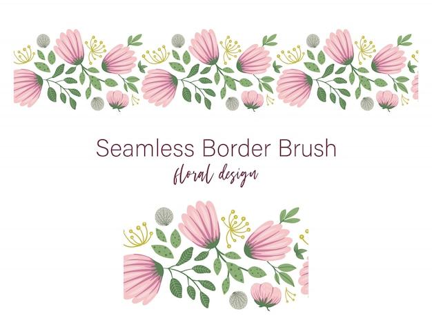 Nahtloses muster von grünen blättern mit rosa blüten und löwenzahn. blumenrandverzierung. trendy flache illustration