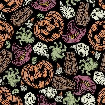 Nahtloses muster von halloween-elementen im dunklen hintergrund