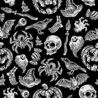 Nahtloses muster von halloween im dunklen hintergrund.