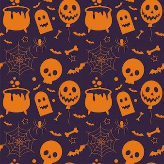 Nahtloses muster von halloween und von element