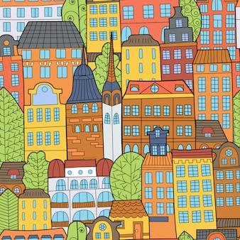 Nahtloses muster von hand gezeichneten karikaturhäusern.