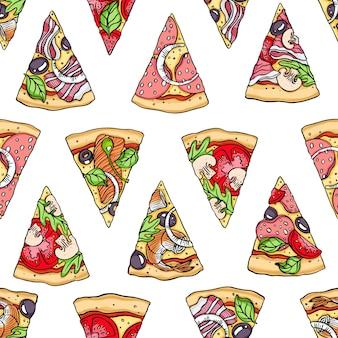 Nahtloses muster von hand gezeichneten pizzascheiben. vektor-illustration