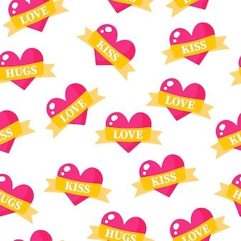 Nahtloses muster von herzen mit bändern und inschriften für die hochzeit oder den valentinstag.