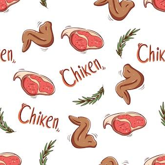 Nahtloses muster von hühnerflügeln und rohem fleisch