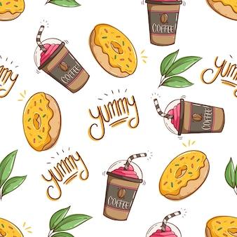 Nahtloses muster von kaffeemilchshake und leckerem dessert mit doodle-stil