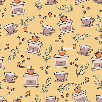 Nahtloses muster von kaffeemühlen und tassen