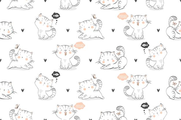 Nahtloses muster von karikaturkatzen