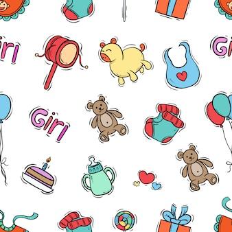 Nahtloses muster von kinderikonen mit farbiger hand gezeichneter art