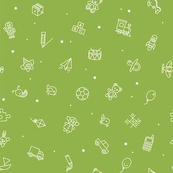 Nahtloses muster von kinderspielzeug. babyhintergrund, vektorillustration für jungen und mädchen. stoffdesign vom liniensymbol.