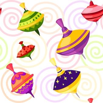 Nahtloses muster von kinderspielzeug-whirligig-spinner mit verschiedenen formmustern vektor-illustration