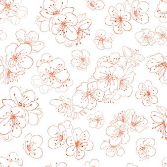 Nahtloses muster von kirschblüten, orange auf weiß