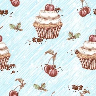 Nahtloses muster von kuchen mit sahne und kirschen. sketchy handzeichnung von süßigkeiten und desserts.