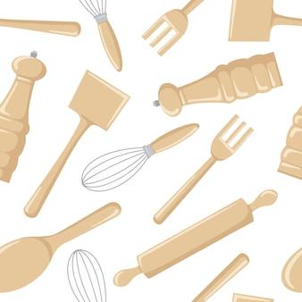 Nahtloses muster von küchenwerkzeugen aus holz zum kochen