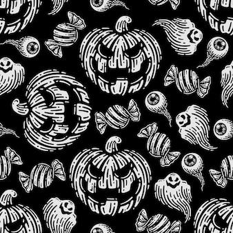 Nahtloses muster von kürbissen und geist im dunklen hintergrund