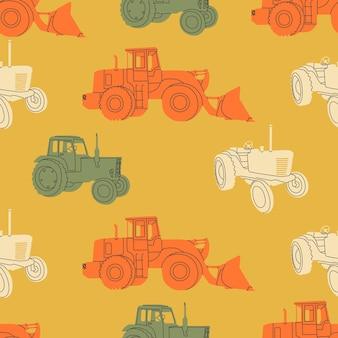 Nahtloses muster von landwirtschaftlichen traktoren oder erntemaschinen