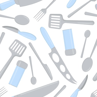 Nahtloses muster von lebensmittelbesteck und küchenwerkzeugen.