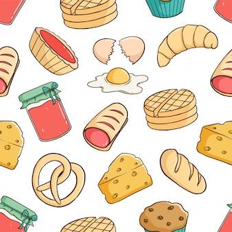 Nahtloses muster von leckerem frühstücksgebäck mit ei, brot, erdbeermarmelade und käse