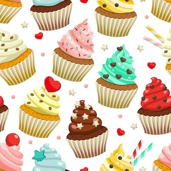 Nahtloses muster von leckeren farbigen kleinen kuchen
