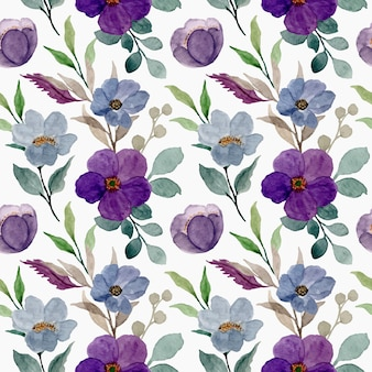 Nahtloses muster von lila aquarellblumen