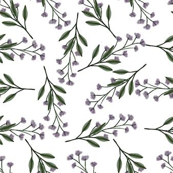 Nahtloses muster von lila wildblumen