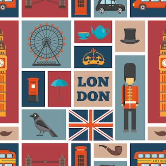 Nahtloses muster von london mit britischem thema und sehenswürdigkeiten