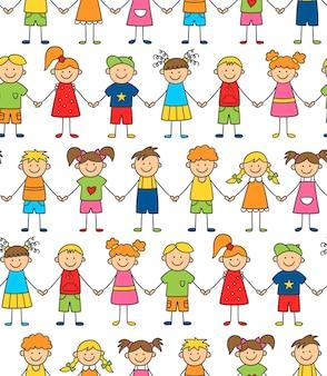 Nahtloses muster von lustigen kindern, die händchen halten. freundschaftskonzept. glückliche süße gekritzelkinder.