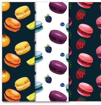 Nahtloses muster von macarons und früchten