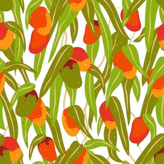 Nahtloses muster von mangofrüchten und -blättern. vektorillustration im flachen stil