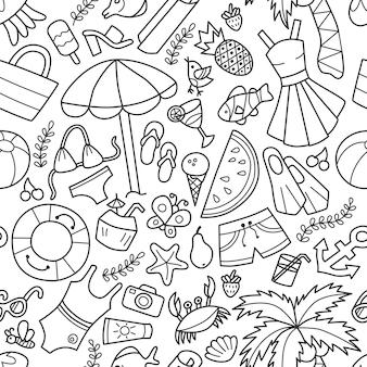 Nahtloses muster von meer und sommer im doodle-stil. handgemalt.