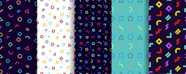 Nahtloses muster von memphis. satz von fünf geometrischen texturen. geschenkpapier design.