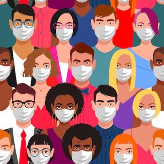 Nahtloses muster von menschen mit schutzmasken